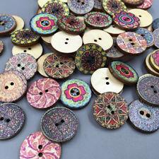 100X Vintage Mixto Flores Madera Botones Manualidades Costura 20MM Rosy Fadd
