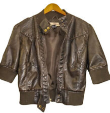 PARIS BLUES Bomber Jacket Faux Leather  3/4 Sleeves Brown Size XL