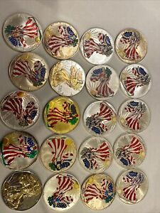 Mixed Dates Painted Walking Liberty American Eagle One Dollar Lot x20