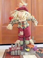 Scarecrow Plush Figurine w/ Straw Autumn Fall Thanksgiving