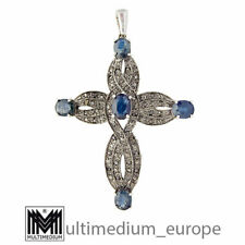 Art Deco 925 Silber 9ct Gold Kreuz Anhänger Saphir Diamanten cross 🌺🌺🌺🌺🌺