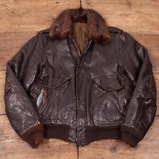 "Vintage 1960's Dark Brown Leather Real Fur Collar Flight Jacket Mens 36"" S R2990"