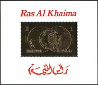 Ras al Khaima GOLD Apollo 15/Space/Rocket/Moon/Earth/Astronauts deluxe m/s b5051