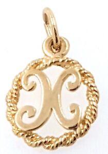 "9k ""X"" initial Charm/Pendant_375 yellow gold"