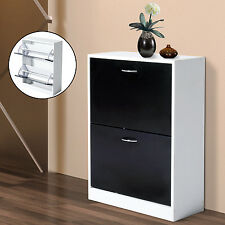 HOMCOM Wood Shoe Cabinet 2 Doors Shelf Storage Organizer Rack Entryway Furniture