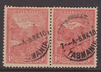 Tasmania 1 pictorial pair shown flaw on mountain on left stamp ?