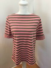 Appleseeds Ladies Petite Shirt Sz PM Coral Gray Stripes Boat Neck
