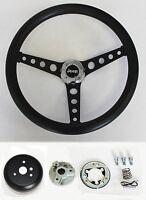 "1976-1995 Jeep CJ5 CJ7 YJ Classic Black Grip on Black Steering Wheel 14 1/2"""