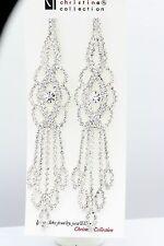 BRILLIANT WHITE WEDDING EARRINGS DANGLING WHITE 5 INCH LONG CHANDELIER  EARRINGS