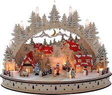 LED - Schwibbogen Lichterbogen Advent Oval Winterdorf Häuser bel. 45x34x15cm 331