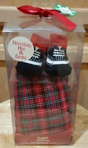 Baby Essentials Infant Red Plaid Newsboy Cap & Socks Accessory Set - 0-6M