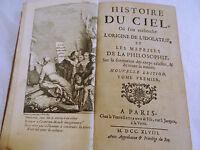 LIVRE HISTOIRE DU CIEL ORIGINE IDOLATRIE VOL I PLUCHE VEUVE ESTIENNE 1748 C484