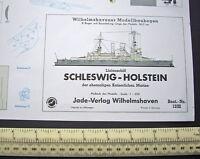 KM Schleswig-Holstein WW1 & WW2 Battleship Wilhelmshavener Modellbau Jade 1960s