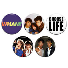 5x Wham Band 80's Pop 25mm / 1 Inch D Pin Button Badges