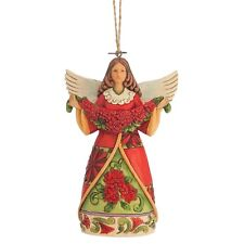 Jim Shore Heartwood Creek Christmas  Angel With Poinsettia Figurine