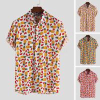 2019 Men's Loose Shirts Summer Printed Shirts Floral Colorful Tee Tops 100%Rayon