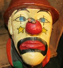 Vintage Redware Ceramic Handmade Clown Head With Bee On Nose-Heavy !
