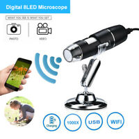 Wifi 1000X Digital Microscope Camera Endoscope Magnifier + Stand For Android/IOS