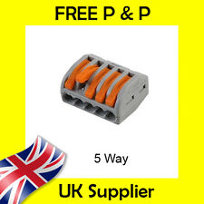 5 Way Electrical Connectors Wire Block Terminal Cable Reusable like Wago 222-415