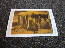 Christmas Card Louis Pierrey Adoration of the Shepherds Gold Foil Used Vtg