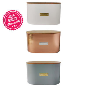 Oval Bread Bin with Bamboo Lid Kitchen Storage Loaf Container -WHITE/GREY/COPPER