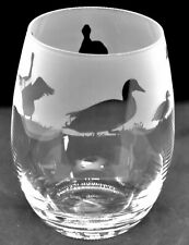 More details for duck frieze boxed 36cl crystal stemless wine / water glass