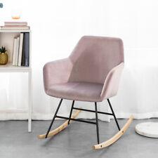 SoBuy Schaukelsessel Schaukelstuhl Relaxstuhl Sessel aus Samt und Buche FST68-P