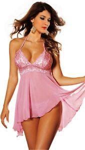 WOW Sexy Pink Sheer babydoll nightie size 8 10 12 short pink babydolls nighties