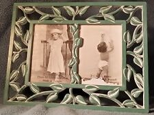 PICTURE FRAME 5.75 X 7.25 CERAMIC GREEN DECORATIVE LEAF BORDER