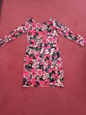 Ladies Floral Bodycon Short Dress/Tunic - Size 12