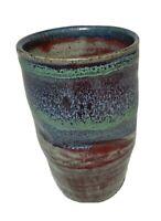 Art studio pottery vase / cup / mug multi green glaze hand turned signed Rosario
