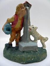 PRESEPE ragazzo alla fonte cane vecchia statuina cartapesta PRESEPIO