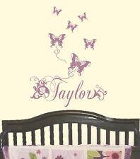 SUGAR PLUM Butterfly Butterflies PERSONALIZED Vinyl Wall Decal Nursery Wall Art