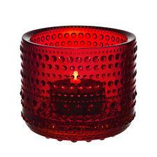 """IITTALA  GLASS  """"KASTEHELMI""""   votive FINLAND """"Cranberry"""", design OIVA TOIKKA"""