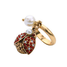 Ruby Crystal Pave Charms Pearl Ladybug Rings Vintage Gold Brand Jewelry Red