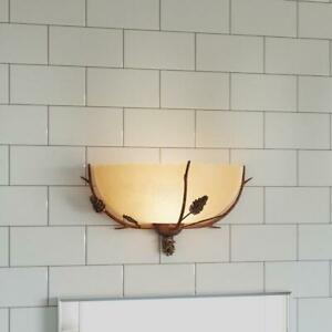 Rustic Wide Bathroom Vanity Wall Sconce Lamp, Branches Base, Sunset Glass Shade