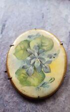 Victorian Flower Porcelain Pin Antique Brooch
