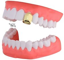 14k Gold Plated Small Single Tooth Cap Grillz Hip Hop Teeth Grill w/Mold