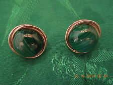 14k Yellow Gold Framed Round Malachite Pierced Earrings