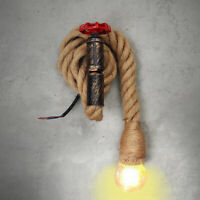 110v. E27 Vintage Industrial Hemp Rope Pipe Wall Light Lamp Sconce Fixture