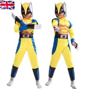 Boys Wolverine cosplay Costume Tight Muscle Suit fancy Party X-Men Cosplay UK