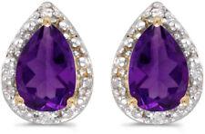 14k ORO AMARILLO Pera Amatista Y Diamante Pendientes