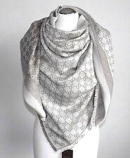 """GUCCI wool/silk Gray Monogram Giant  PASHMINA shawl NEW 281942  X-LARGE SIZE 55"""""""