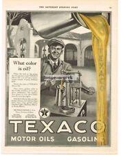 """1923 TEXACO Gas Motor Oil """"What Color Is Oil"""" art Richard V Culter VTG PRINT AD"""