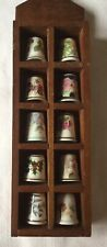 Collection of 10 Vintage & Modern China Thimbles in small wooden display case.