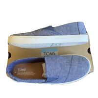 TOMS Kids Luca Navy  Navy Chambray Stripe Youth Slip-on Classic Shoes Size 6y