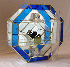 16X16 Octagon BLUE STAINED GLASS & BRASS mirrored CURIO BOX CABINET display