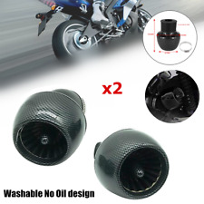 "2*Carbon Fiber Straight Pipe Air Intake Filter 1.1""-1.9""Inlet Adapter Motorcycle"