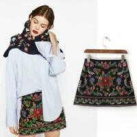 Women's embroidery mini skirt embroidered high waist A-line dress Zsell