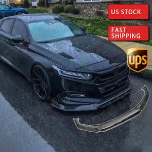 Front Bumper Lip Carbon Fiber Look For Honda Accord 10th Gen Sport 2018 2019